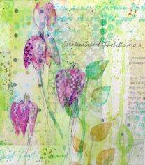 acrylic mix media flowers