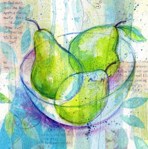 acrylic mixed media pears