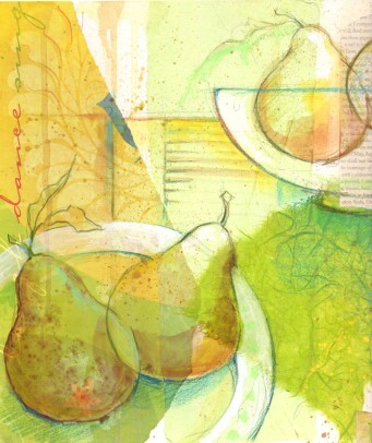 acrylic mix media pears2